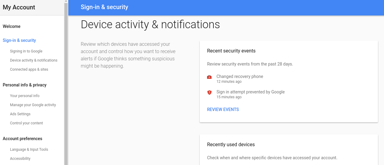 Google my account security review